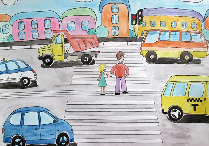 Плакат Автомобили на проезжей части