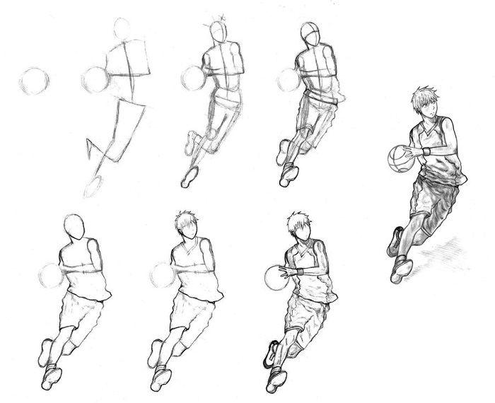 Поэтапный рисунок баскетболиста