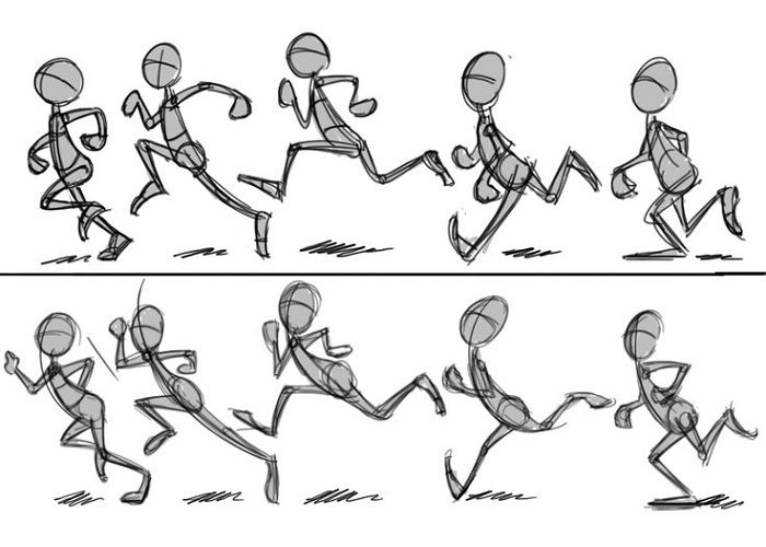 Поэтапный рисунок бегуна