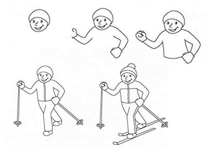 Поэтапный рисунок лыжника