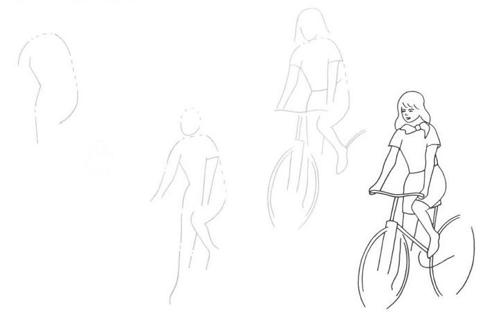 Поэтапный рисунок велосипедиста