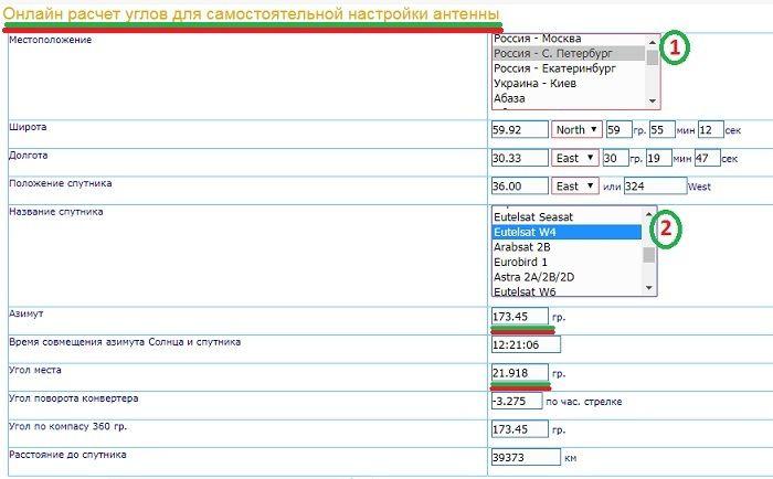 Сайты вычисления азимута и угла фото
