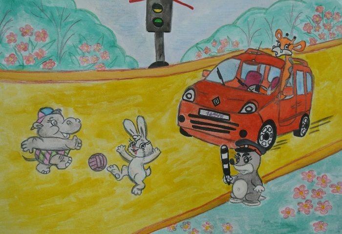 Рисунок Опасные ситуации на дороге