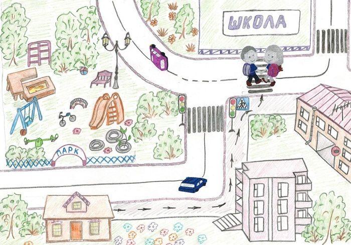 Рисунок по теме Путь в школу