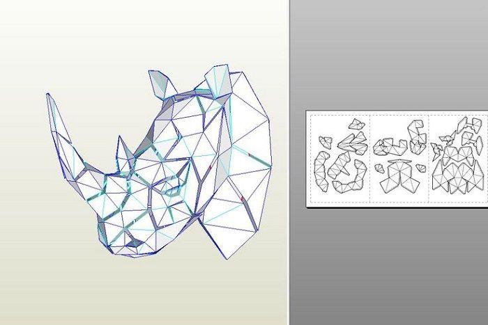 Полигональный чертеж носорога
