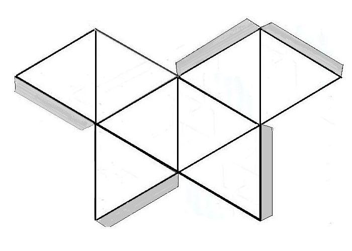 Развертка октаэдра из бумаги