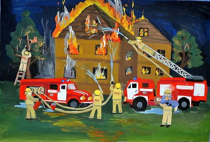 Рисунок с пожарным