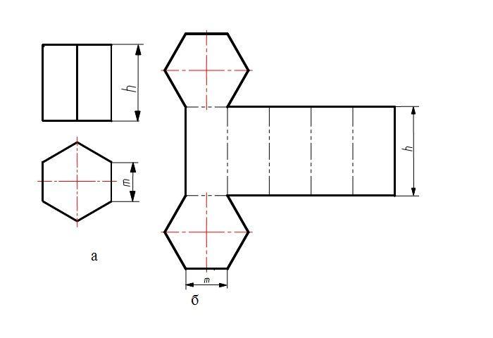 Шаблон объемного шестигранника