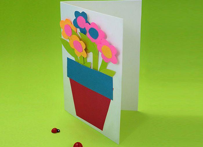 Цветы в горшке открытка фото