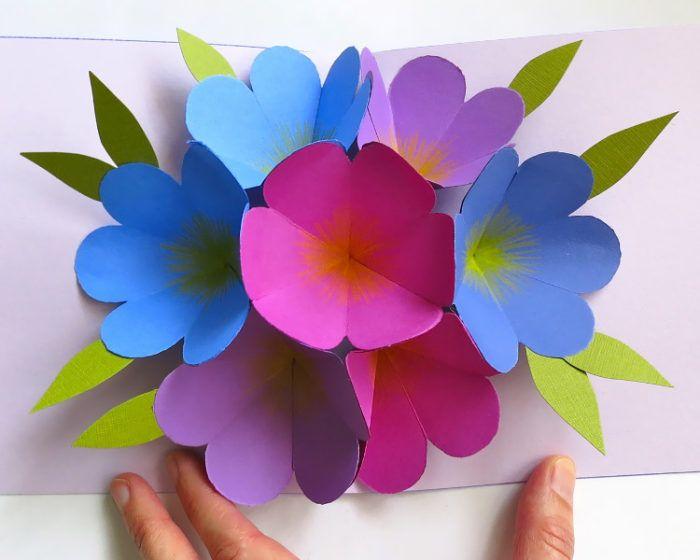 Объемные цветы открытка фото
