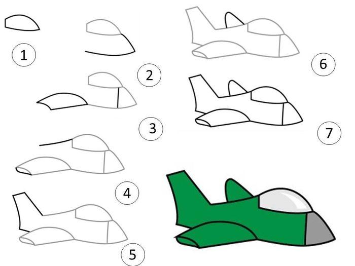 Как нарисовать самолет фото