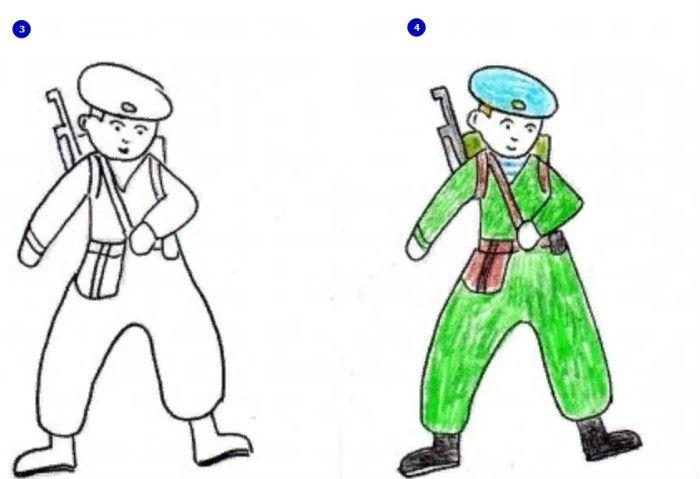 Рисунок солдата фото