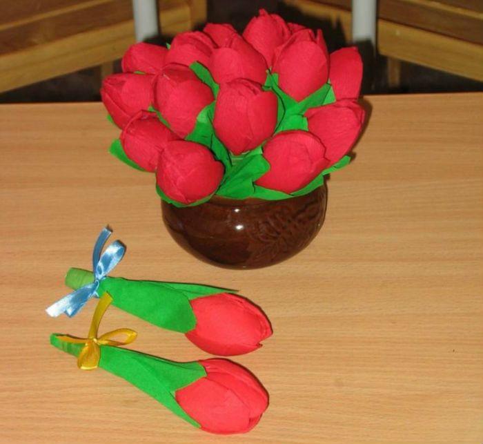 Тюльпаны из гофрированной бумаги фото