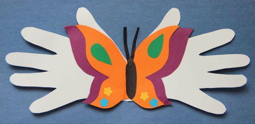 Аппликация бабочка из рук фото