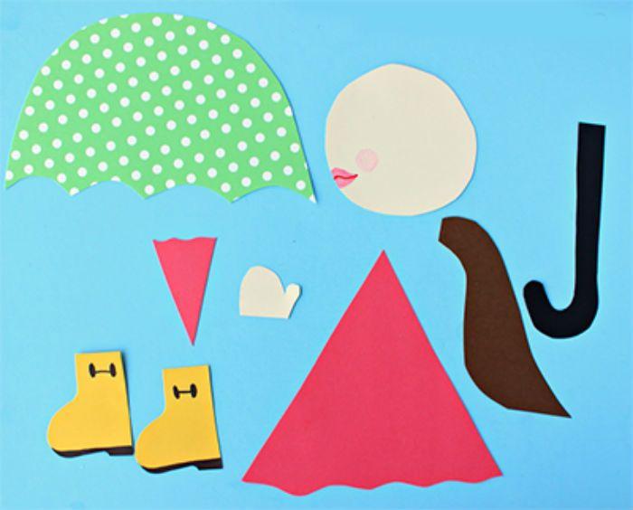Аппликация девочка с зонтом фото