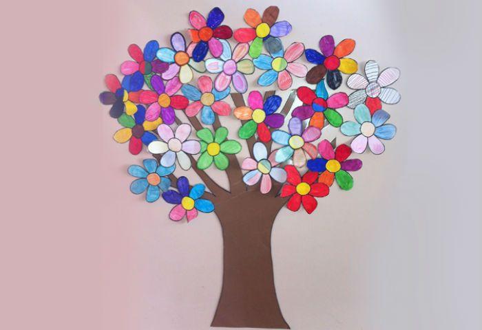 Аппликация дерево и цветы фото