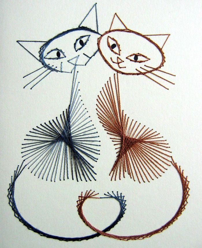 Кошки схема изонить фото