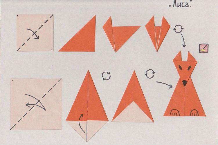 Аппликация лиса оригами фото