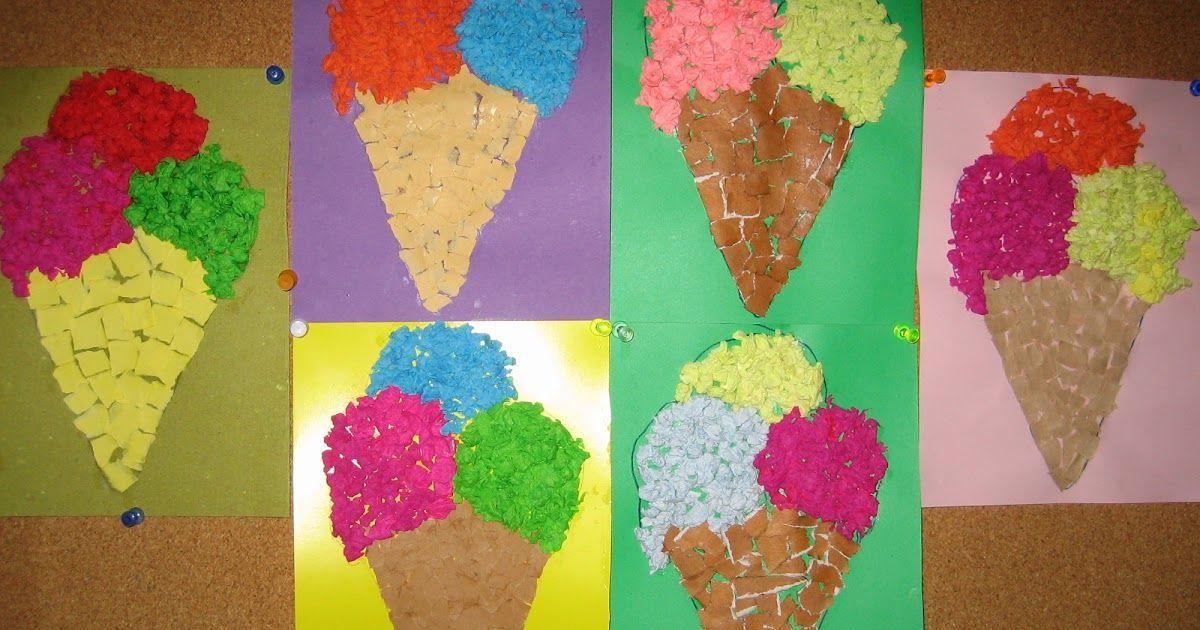 Аппликация мороженое из салфеток фото