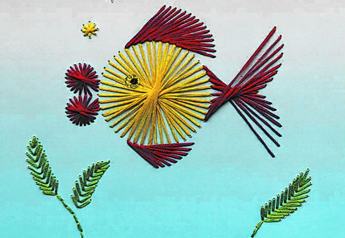 Рыбка нитяная графика фото
