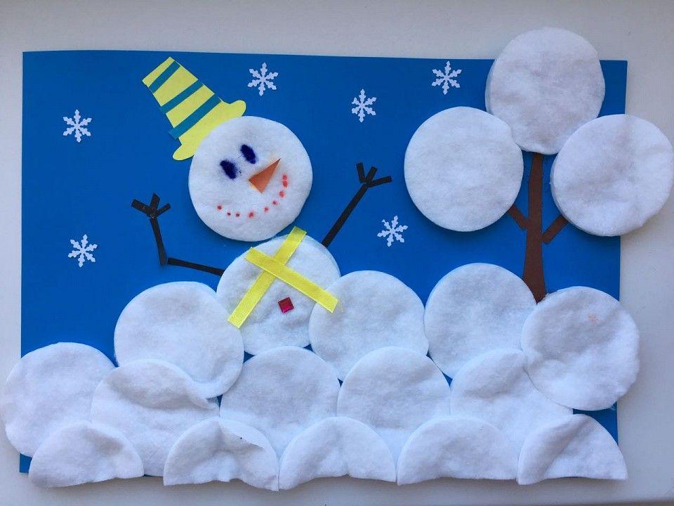 Аппликация снеговик из ваты фото