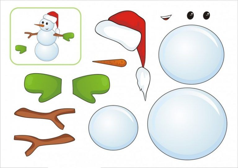 Аппликация снеговик шаблон фото