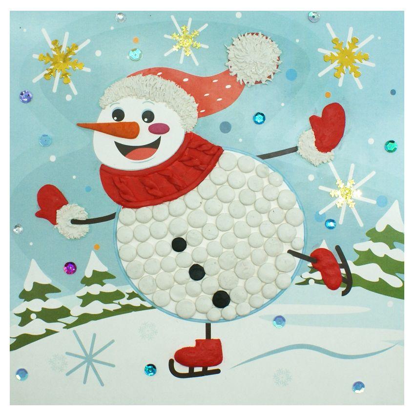 Аппликация снеговик из пластилина фото
