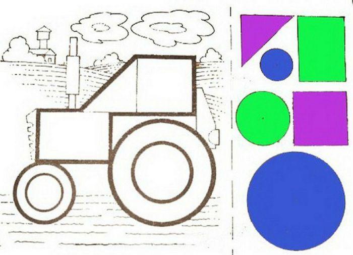 Аппликация трактор фото