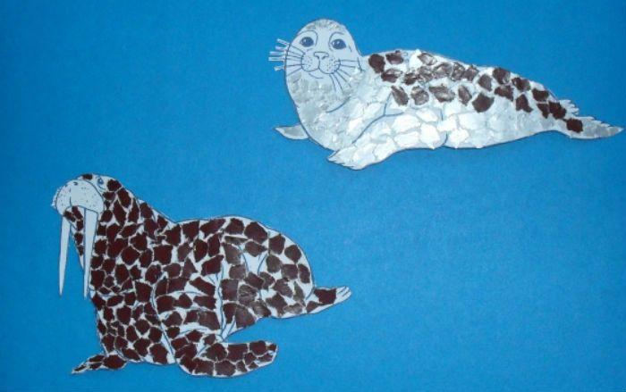 Аппликация тюлень и морж фото
