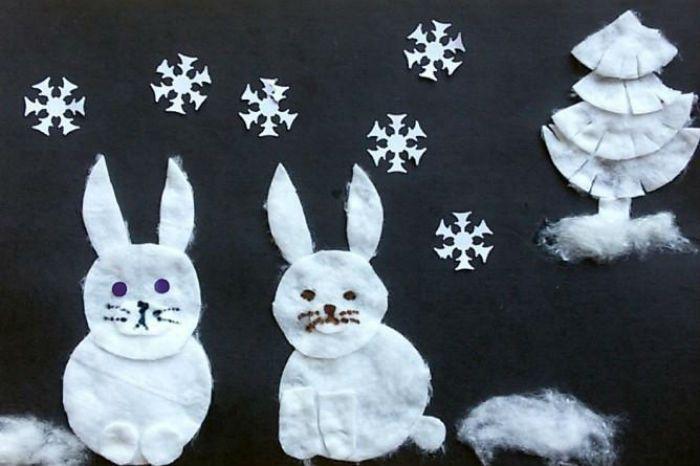 Аппликация заяц в снегу фото