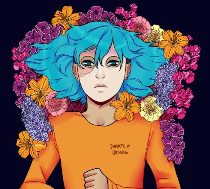 Салли Кромсали портрет в цветах