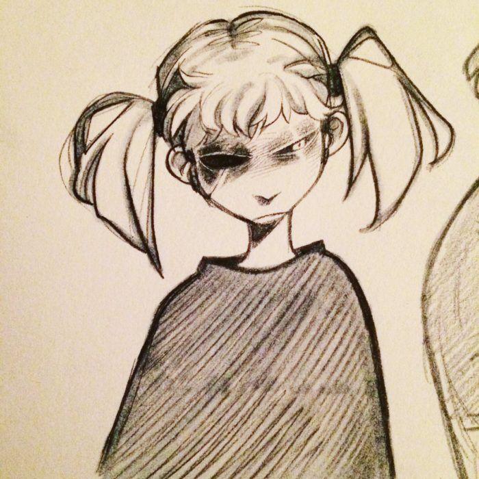 Салли Кромсали чёрно-белый рисунок
