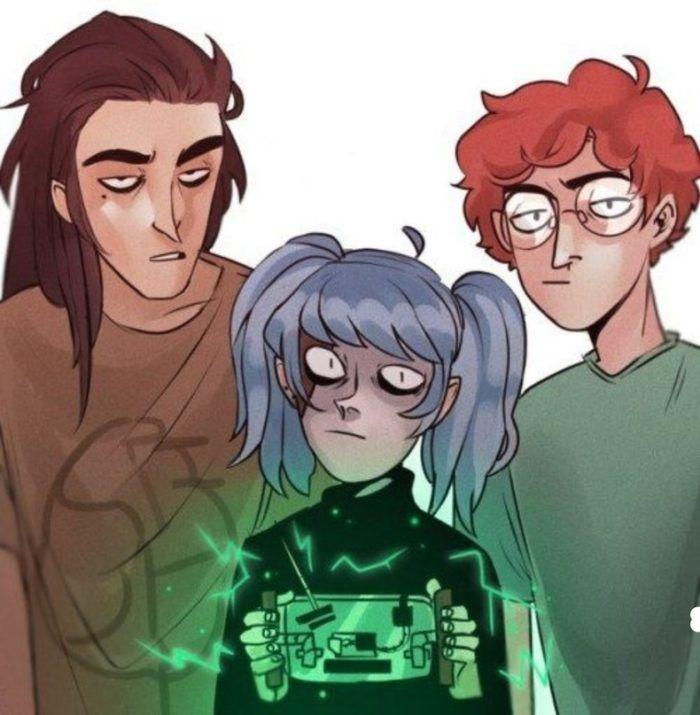 Салли Кромсали рисунок с двумя друзьями