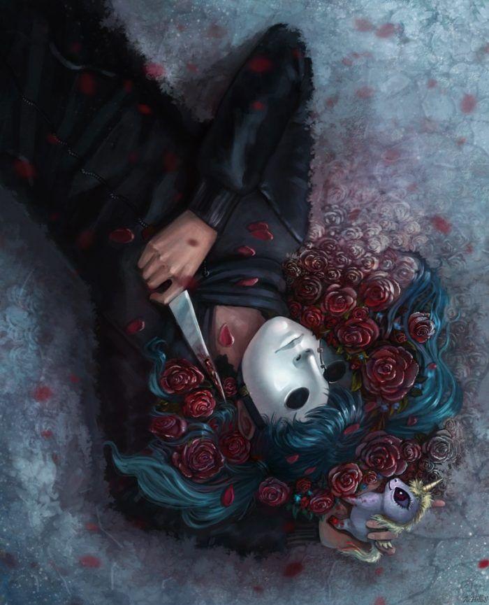Салли Кромсали рисунок в цветах с ножом