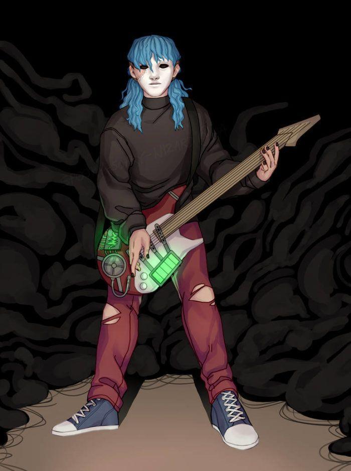 Салли Кромсали фанарт играющего на гитаре