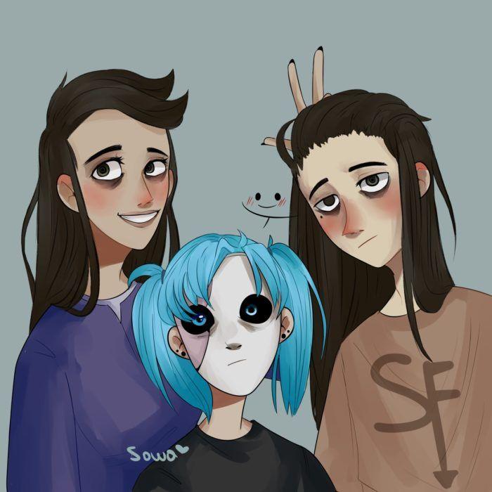 Салли Кромсали фото с Эш и Ларри