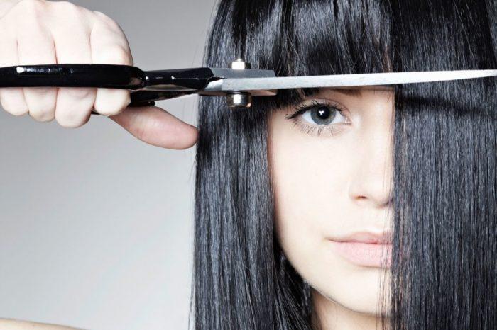 Челка и прямые длинные волосы
