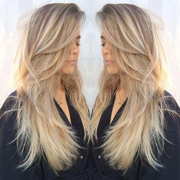 Стрижка лесенка (каскад) на длинные волосы